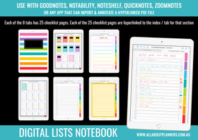 Digital Lists Book - 8 Tabs / Subjects