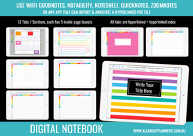 Digital Notebook - 12 Tabs / Subjects - Landscape