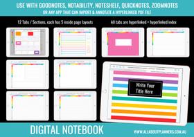 Digital Notebook - 12 Tabs / Subjects - Landscape