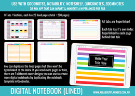 Digital Notebook - 8 Tabs / Subjects (Landscape page orientation)