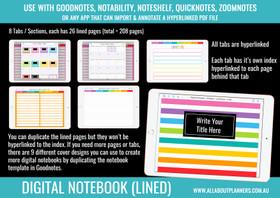 Digital Notebook - 8 Tabs / Subjects (Landscape page orientation)