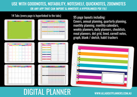 Digital Planner - Undated - Monthly, Weekly, Daily, Habit Tracker, Checklists