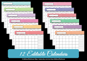 Multi-coloured EDITABLE - Chevron Calendars - INSTANT DOWNLOAD