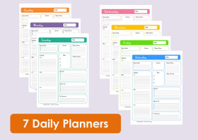 Multi-coloured Daily Planners - INSTANT DOWNLOAD