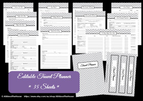 GREY - Travel Planner - EDITABLE - Instant Download