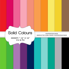 "Solid Digital Paper Pack 12"" x 12"" (20 colors) - NSTANT DOWNLOAD"