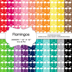 "Flamingo Digital Paper Pack 12"" x 12"" (20 colors) INSTANT DOWNLOAD"
