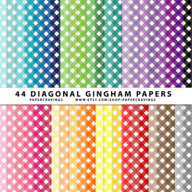 "Diagonal Gingham Digital Paper Pack 12"" x 12"" (44 colors) INSTANT DOWNLOAD"