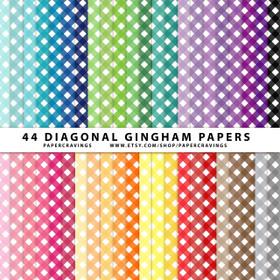 """Diagonal Gingham Digital Paper Pack 12"""" x 12"""" (44 colors) INSTANT DOWNLOAD"""
