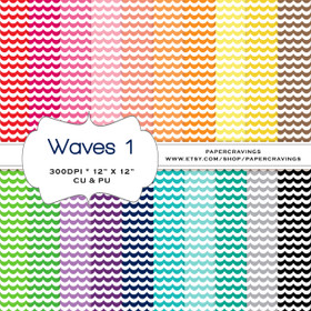 "Waves Digital Paper Pack 12"" x 12"" (20 colors) - INSTANT DOWNLOAD"