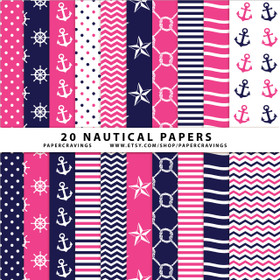 "Nautical Pack 1 Digital Paper Pack 12"" x 12"" INSTANT DOWNLOAD"