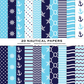 "Nautical Pack 2 Digital Paper Pack 12"" x 12"" INSTANT DOWNLOAD"