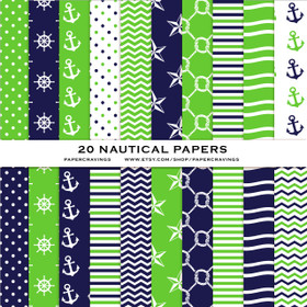 "Nautical Pack 3 Digital Paper Pack 12"" x 12"" INSTANT DOWNLOAD"