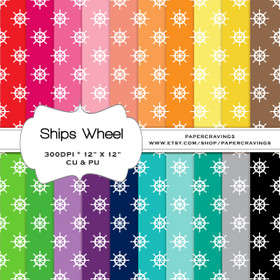 "Nautical Ships Wheel Digital Paper Pack 12"" x 12"" (20 colors) - INSTANT DOWNLOAD"