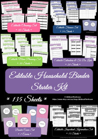 Household Binder Starter Set Multicoloured - EDITABLE - Instant Download