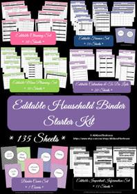 Household Binder Starter Set Multicoloured - EDITABLE - Instant Download
