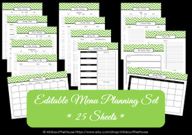 GREEN EDITABLE - Meal Planning - Instant Download