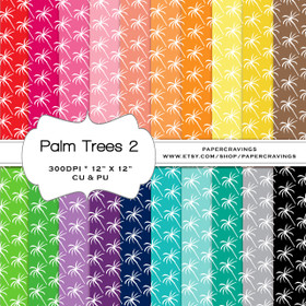 "Palm Trees 2 Digital Paper Pack 12"" x 12"" (20 colors) - INSTANT DOWNLOAD"