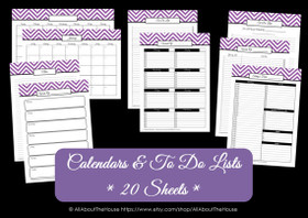 PURPLE - Calendars and To Do Lists - Instant Download