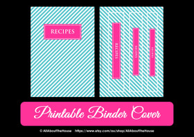 Personalised Binder Cover - Blue Stripe & Pink