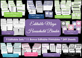 MULTICOLOURED Mega Household Binder - EDITABLE - Instant Download