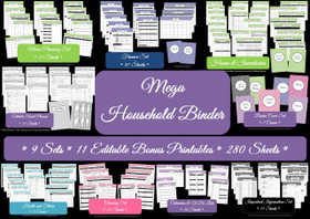 PINK Mega Household Binder - EDITABLE - Instant Download