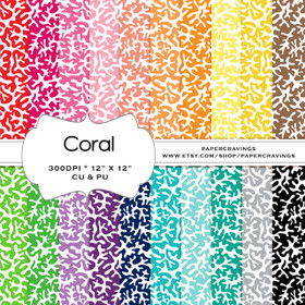 "Coral Digital Paper Pack 12"" x 12"" (20 colors) - INSTANT DOWNLOAD"