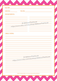 Pink Chevron & Orange Recipe Sheet - EDITABLE - INSTANT DOWNLOAD
