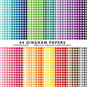 "Gingham 1 Digital Paper Pack 12"" x 12"" (44 colors) INSTANT DOWNLOAD"