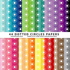 "Dotted Circles Digital Paper Pack 12"" x 12"" (44 colors) INSTANT DOWNLOAD"