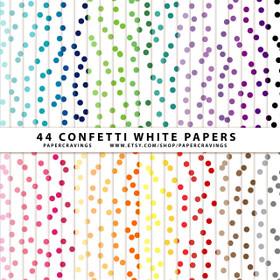 "Confetti 3 White Digital Paper Pack 12"" x 12"" (44 colors) INSTANT DOWNLOAD"