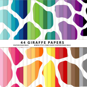 "Giraffe Digital Paper Pack 12"" x 12"" (44 colors) INSTANT DOWNLOAD"