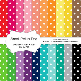 "Small Polka Dot Basics - Digital Paper Pack 12"" x 12"" (20 colors) - INSTANT DOWNLOAD"