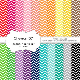 "Chevron 57 - Basics Digital Paper Pack 12"" x 12"" (20 colors) - INSTANT DOWNLOAD"