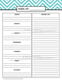 Meal Planning - Chevron Planner Add On - EDITABLE - Instant Download