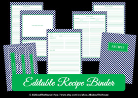 EDITABLE Recipe Binder Printables - Navy Green - INSTANT DOWNLOAD