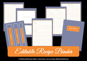 EDITABLE Recipe Binder Printables - Navy Orange - INSTANT DOWNLOAD