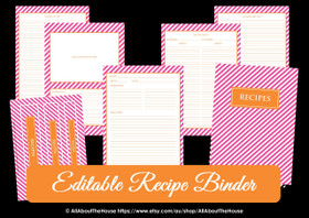EDITABLE Recipe Binder Printables - Pink Orange Stripe - INSTANT DOWNLOAD