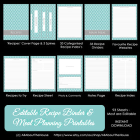 EDITABLE - Blue Quatrefoil Recipe Binder & Meal Planning Printables - INSTANT DOWNLOAD