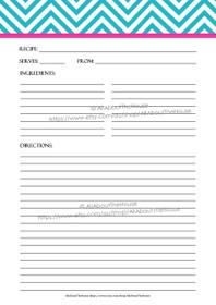 EDITABLE - Printable Chevron Recipe Card Sheet - b4, 10 - INSTANT DOWNLOAD