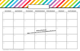 "11 x 17"" Rainbow Stripe Calendar Printable - INSTANT DOWNLOAD"