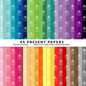"Christmas Presents Digital Paper Pack 12"" x 12"" (44 colors) INSTANT DOWNLOAD"