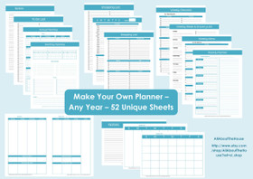 BLUE Perpetual Planner - Printable - Product Number 437 - INSTANT DOWNLOAD