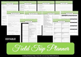 GREEN - EDITABLE - Field Trip Planner - Instant Download