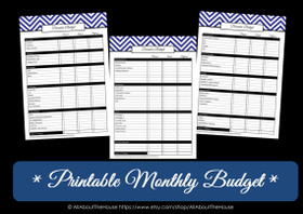 DARK BLUE Monthly Budget - EDITABLE - Instant Download