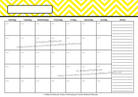 EDITABLE Perpetual Calendar - Style 2 - Yellow - INSTANT DOWNLOAD