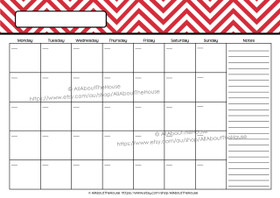 EDITABLE Perpetual Calendar - Style 2 - Red 2 - INSTANT DOWNLOAD