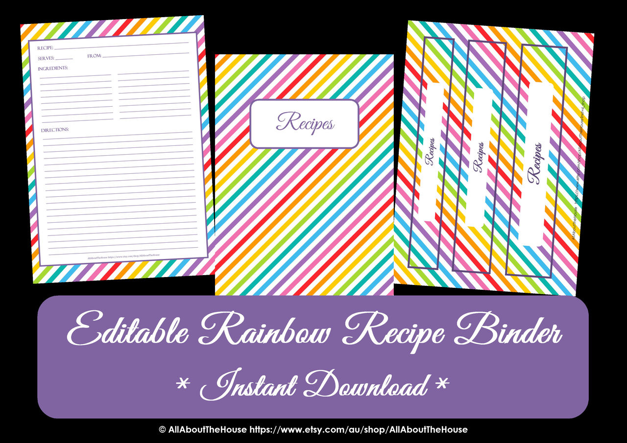 picture regarding Free Printable Recipe Binder Kit referred to as Cost-free Rainbow Recipe Binder Printables - Prompt Down load