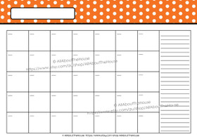 EDITABLE Perpetual Calendar - Style 2 - Dots - Orange 2 - INSTANT DOWNLOAD