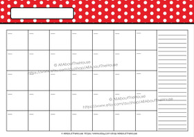 EDITABLE Perpetual Calendar - Style 2 - Dots - Red 1 - INSTANT DOWNLOAD